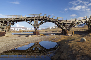 Old crooked bridge in Central Mongolia, Mongolia