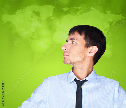 Portrait of adult business man looking at left side of shot and