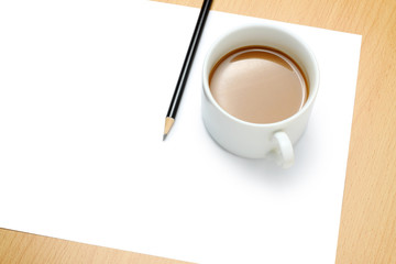 Blank paper, coffee and pencil