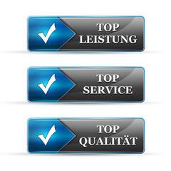 leistung service qualität blau leuchtende buttons