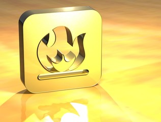 3D Fire Gold Sign