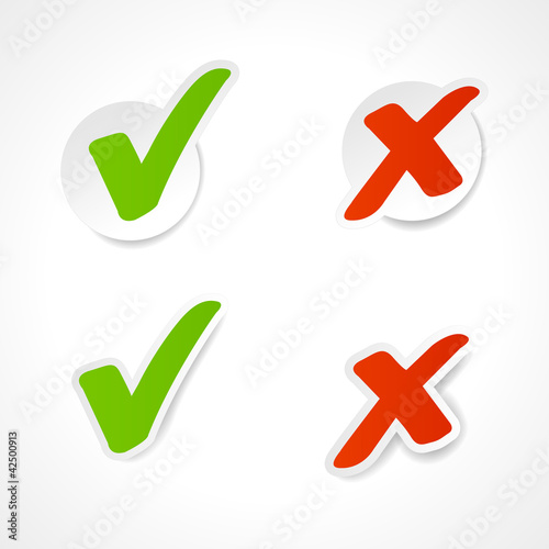 Vector check mark stickers for website.