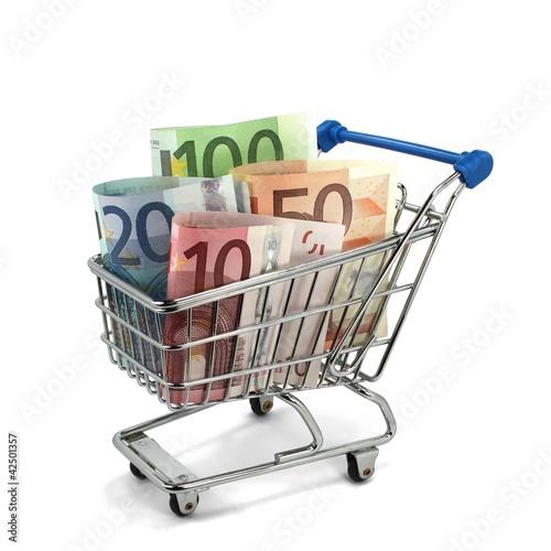 Einkaufswagen mit Geldscheinen