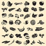 Fruits and vegetables vector collection. Assorted.