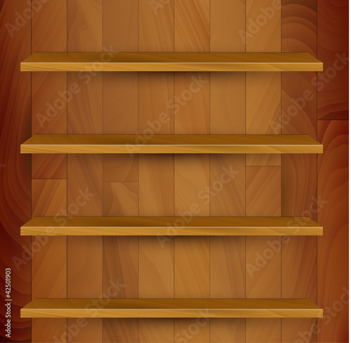 Vector wooden empty realistic bookcase