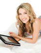 woman in bikini with tablet pc computer