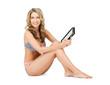 woman in bikini with tablet pc computer