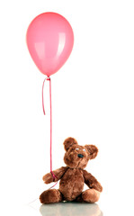 teddy bear with colorful balloon isolated on white