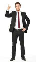 junger business mann zeigt