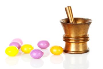 Copper mortar with medicine