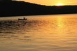 tranquil scene of sunset canoeing