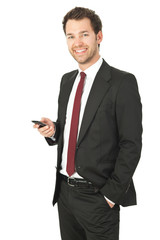 business mann mit telefon
