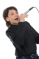 Little boy with microphone