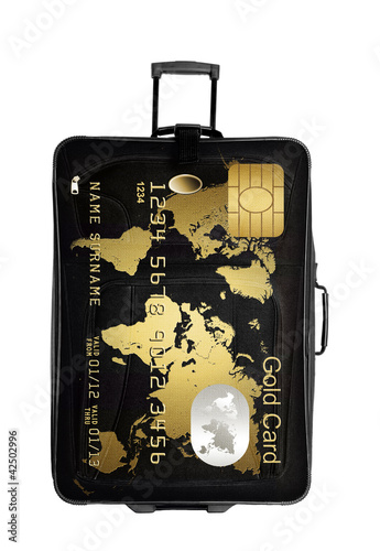 dark suitcase with gold card isolated over white