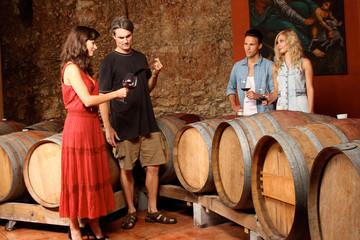 Freunde im Weinkeller