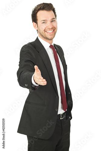 business mann gibt hand