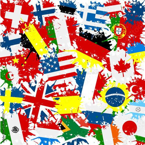 Fototapeta samoprzylepna Fond drapeaux monde