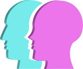 Cabezas de perfil de mujer y hombre
