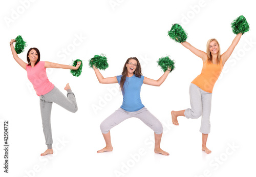 Three cheerleaders