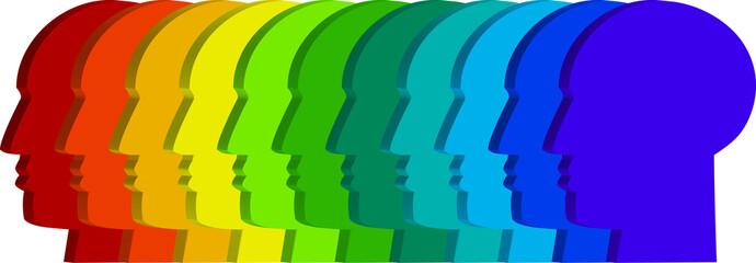 Perfil de cabeza masculina en fila de colores