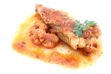 Fillet of Fish with shrimps