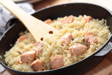 Saffron risotto with salmon