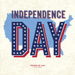Vintage style Poster for Independence Day Celebration. Vector, E