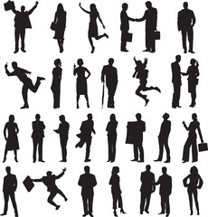 set of silhouettes of business people