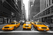 TYellow taxis in New York City, USA.