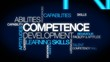 Competence development skills word tag cloud animation