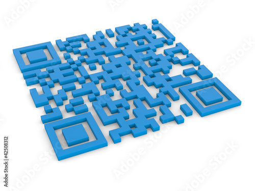 qr code 3d render illustration