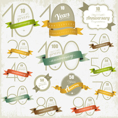 Anniversary signs and cards vector design  Jubilee design