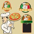 label pizza restaurant with chef