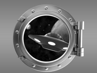 Porthole overlooking the ufo