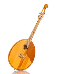 Retro kobza- Ukrainian musical instrument isolated on white