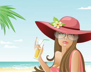girl on the beach drinking the juice. vector