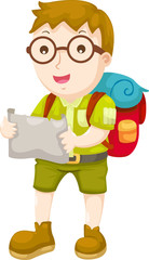 Kid Hiking vector illustration on a white background