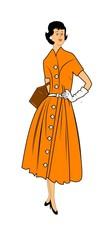 fifties mom  dressed in stylish dress