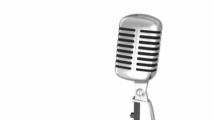 Classic microphone on a stand with clipping path