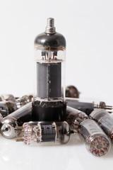 Glass vacuum radio tubes.