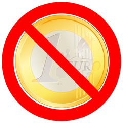 Prohibitory road sign with Euro coin