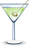 illustrated image of martini glass with olive