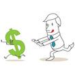 Geschäftsmann, jagt Dollar, rennend, Währungen
