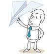 Geschäftsmann, Papierflugzeug, in der Hand haltend