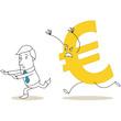 Geschäftsmann, von Euro gejagt, rennend, Währungen