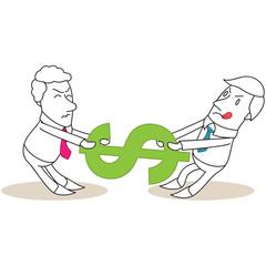 Geschäftsleute, Streit um Dollar