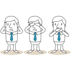 Geschäftsmann, Nichts hören, nichts sehen, nichts sagen