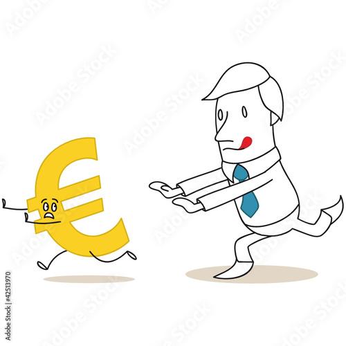 Geschäftsmann, jagt Euro, rennend, Währungen