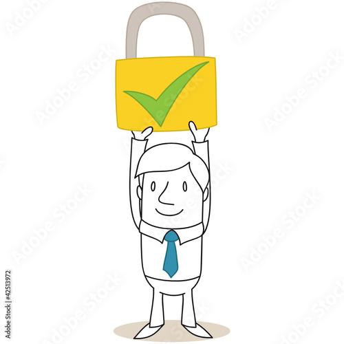 Geschäftsmann, Sicherheit, Sicherheitsschloss