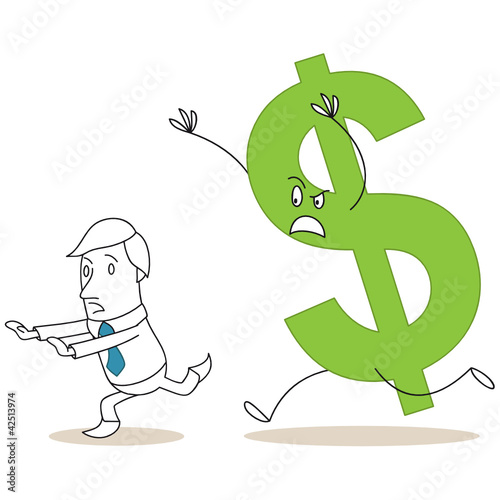 Geschäftsmann, von Dollar gejagt, rennend, Währungen